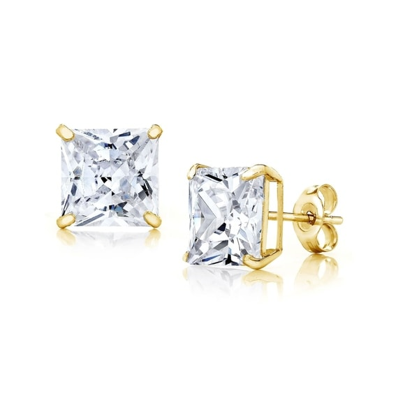 c23fde10d Shop Pori Jewelers 14K Rose Gold 7MM Princess-Cut Stud Earrings made with  Crystals by Swarovski BOXED - On Sale - Free Shipping On Orders Over $45 ...