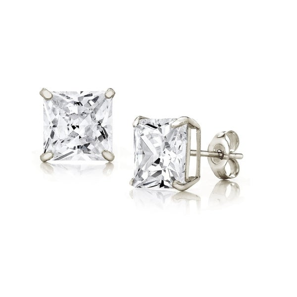 08d3f639d Shop Pori Jewelers 14K White Gold 7MM Princess-Cut Stud Earrings made with  Crystals by Swarovski BOXED - Free Shipping On Orders Over $45 - Overstock  - ...