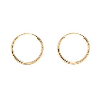 Pori Jewelers 14K Gold 12MM Diamond-Cut Endless Hoop Earrings BOXED