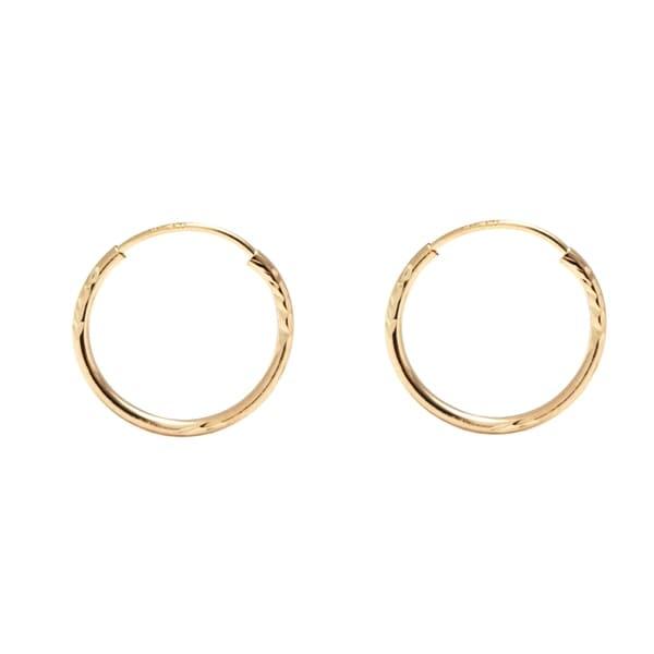 Pori Jewelers 14k Gold 12mm Diamond Cut Endless Hoop Earrings Boxed