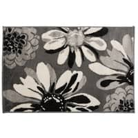 Contemporary Modern Flowers Rug  Gray - 2' x 3'