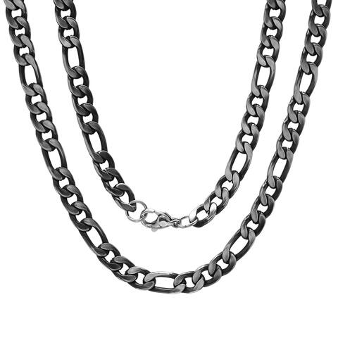 Steeltime Men's Gunmetal Stainless Steel Figaro Chain Link Necklace