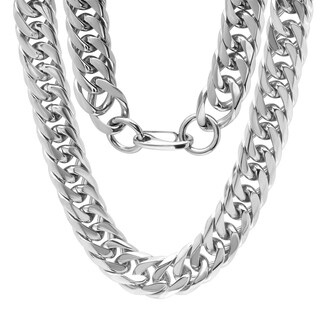 Steeltime Men's Stainless Steel Thick Chain Link Necklace