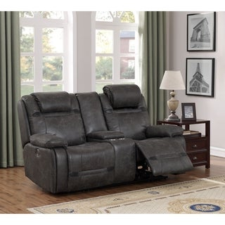 Traun Leather Air Power Recline and Headrest Console Loveseat in Charcoal