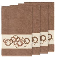 Authentic Hotel and Spa Turkish Cotton Circles Embroidered Latte Brown 4-piece Bath Towel Set