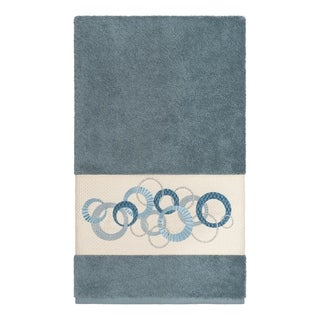 Link to Authentic Hotel and Spa Turkish Cotton Circles Embroidered Teal Blue Bath Towel Similar Items in Towels