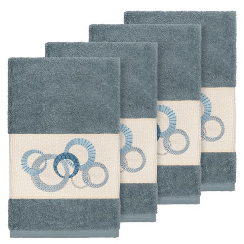 Authentic Hotel and Spa Turkish Cotton Circles Embroidered Teal Blue 4-piece Hand Towel Set