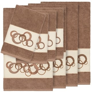 Authentic Hotel and Spa Turkish Cotton Circles Embroidered Latte Brown 8-piece Towel Set