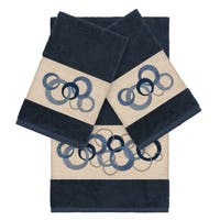 Authentic Hotel and Spa Turkish Cotton Circles Embroidered Midnight Blue 3-piece Towel Set