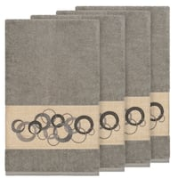 Authentic Hotel and Spa Turkish Cotton Circles Embroidered Dark Grey 4-piece Bath Towel Set