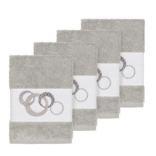 Authentic Hotel and Spa Turkish Cotton Circles Embroidered Light Grey 4-piece Washcloth Set
