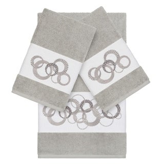 Authentic Hotel and Spa Turkish Cotton Circles Embroidered Light Grey 3-piece Towel Set