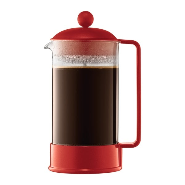 Bodum Brazil French Press Coffee Maker, 8 cup, 1.0L, 34oz, Red