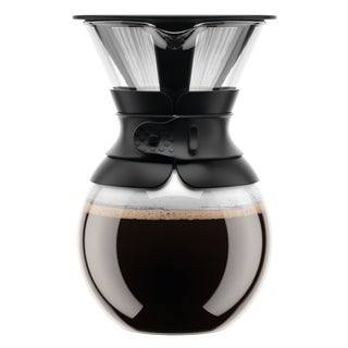 Bodum Pour Over Coffee Maker with Permanent Filter, 1.0L, 34oz, Black