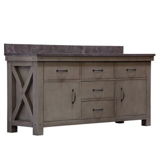 """72"""" Grizzle Grey Double Sink Bathroom Vanity With Blue Limestone Counter Top From The ABERDEEN Collection"""