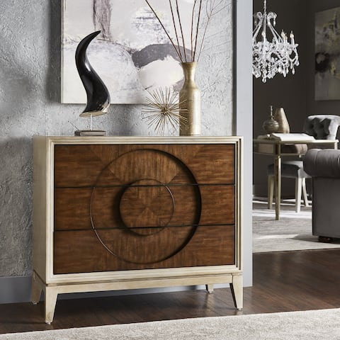 Cole Two-Tone Antique Silver and Mahogany Recessed Circle 3-Drawer Chest by iNSPIRE Q Bold