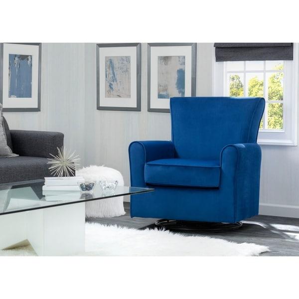 Delta Children Elena Glider Swivel Rocker Chair, Blue Velvet. Opens flyout.