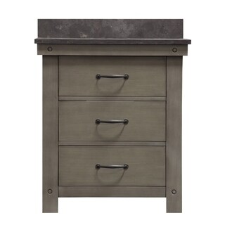 """30"""" Grizzle Grey Single Sink Bathroom Vanity With Blue Limestone Counter Top From The ABERDEEN Collection"""