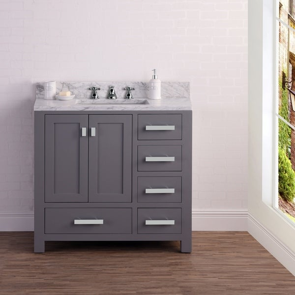 shop 36 inch wide cashmere grey single sink bathroom vanity from the madison collection free. Black Bedroom Furniture Sets. Home Design Ideas