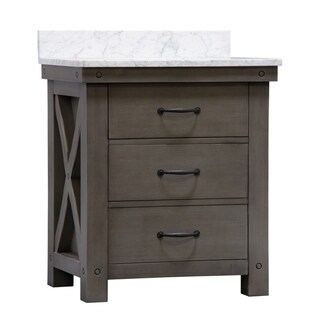"30"" Grizzle Grey Single Sink Bathroom Vanity With Carrara White Marble Counter Top From The ABERDEEN Collection"
