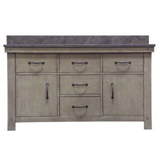 "60"" Grizzle Grey Double Sink Bathroom Vanity With Blue Limestone Counter Top From The ABERDEEN Collection"