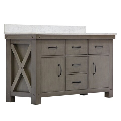 """60"""" Grizzle Grey Double Sink Bathroom Vanity With Carrara White Marble Counter Top From The ABERDEEN Collection"""