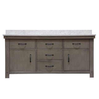 """72"""" Grizzle Grey Double Sink Bathroom Vanity With Carrara White Marble Counter Top From The ABERDEEN Collection"""