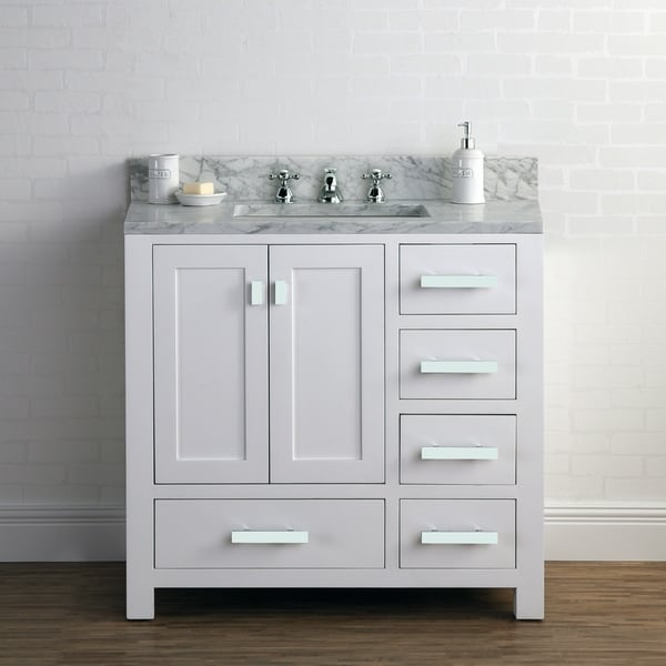 Shop 36 Inch Wide Pure White Single Sink Bathroom Vanity ...