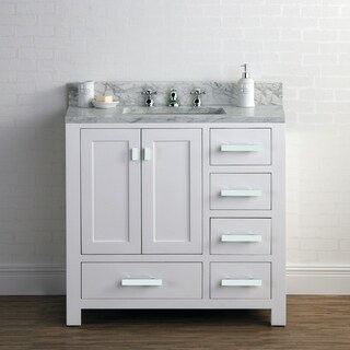36 Inch Wide Pure White Single Sink Bathroom Vanity From The Madison Collection