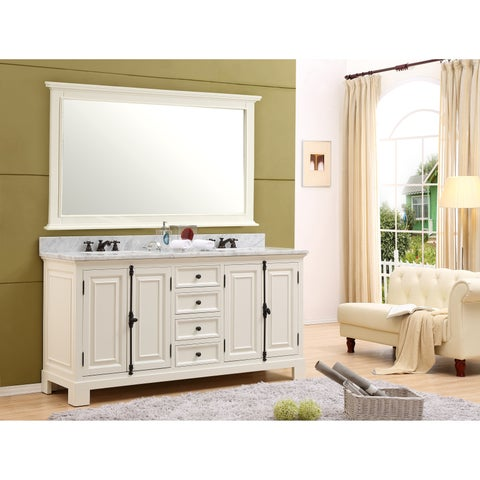 The Greenwich Collection Antique White Wood Marble Top 72-inch Double Sink Bathroom Vanity