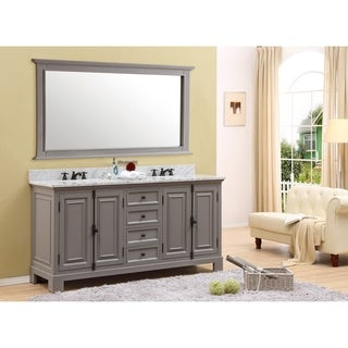 "72"" Grey Double Sink Bathroom Vanity From The Greenwich Collection"