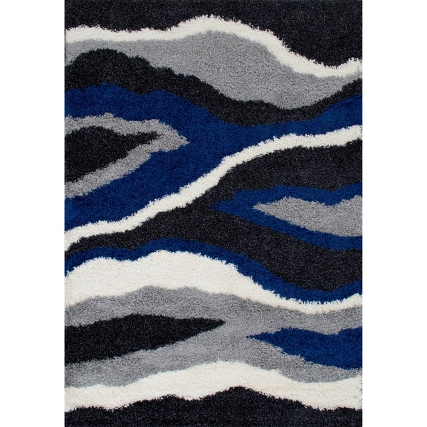 LYKE Home Anthracite Waves Design 5x7 Area Rug