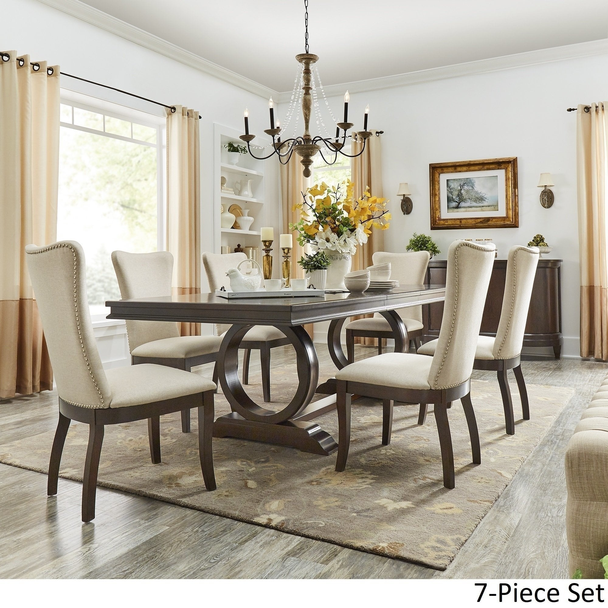 Willa Dark Cherry Wood And Beige Fabric Extendable Rectangular Dining Set By Inspire Q Classic Overstock 22160896