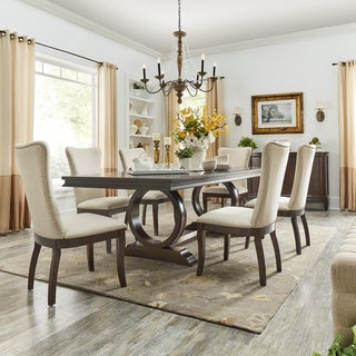 Willa Dark Cherry Wood and Beige Fabric Extendable Rectangular Dining Set by iNSPIRE Q Classic