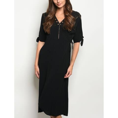 JED Women's V-Neck Wrap Midi Dress