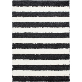 LYKE Home Stripped Anthracite 5x7 Area Rug