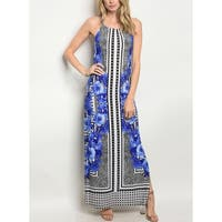 JED Women's Sleeveless Scoop Neck Printed Maxi Dress