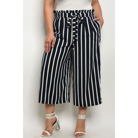 JED Women's Plus Size Stripes High Waist Capri Pants