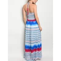JED Women's Halter Smocked Printed Maxi Dress