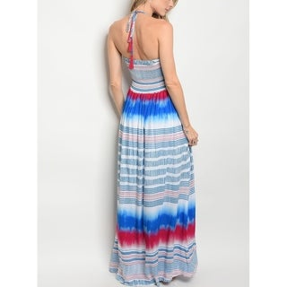 JED Women's Halter Smocked Printed Maxi Dress