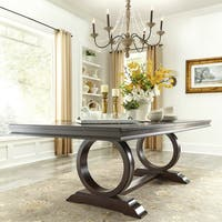 Willa Dark Cherry Wood Extendable Trestle Base Dining Table by iNSPIRE Q Classic - Cherry Brown