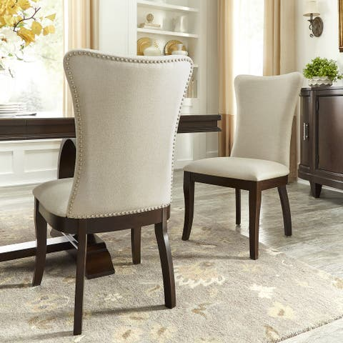 Willa Beige Fabric Wingback Dining Chairs with Nailhead Trim (Set of 2) by iNSPIRE Q Classic