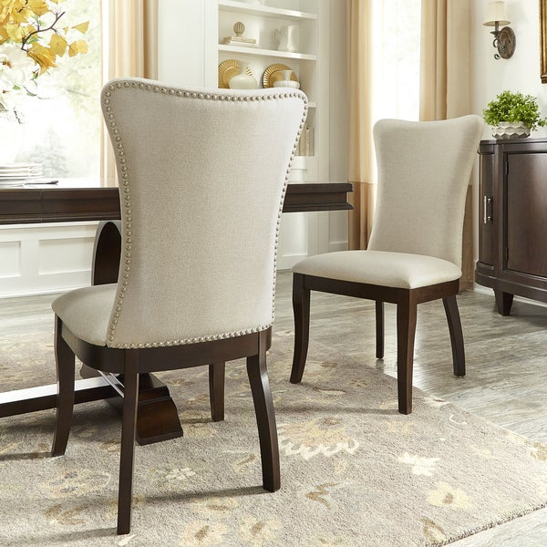 Shop Willa Beige Fabric Wingback Dining Chairs with ...