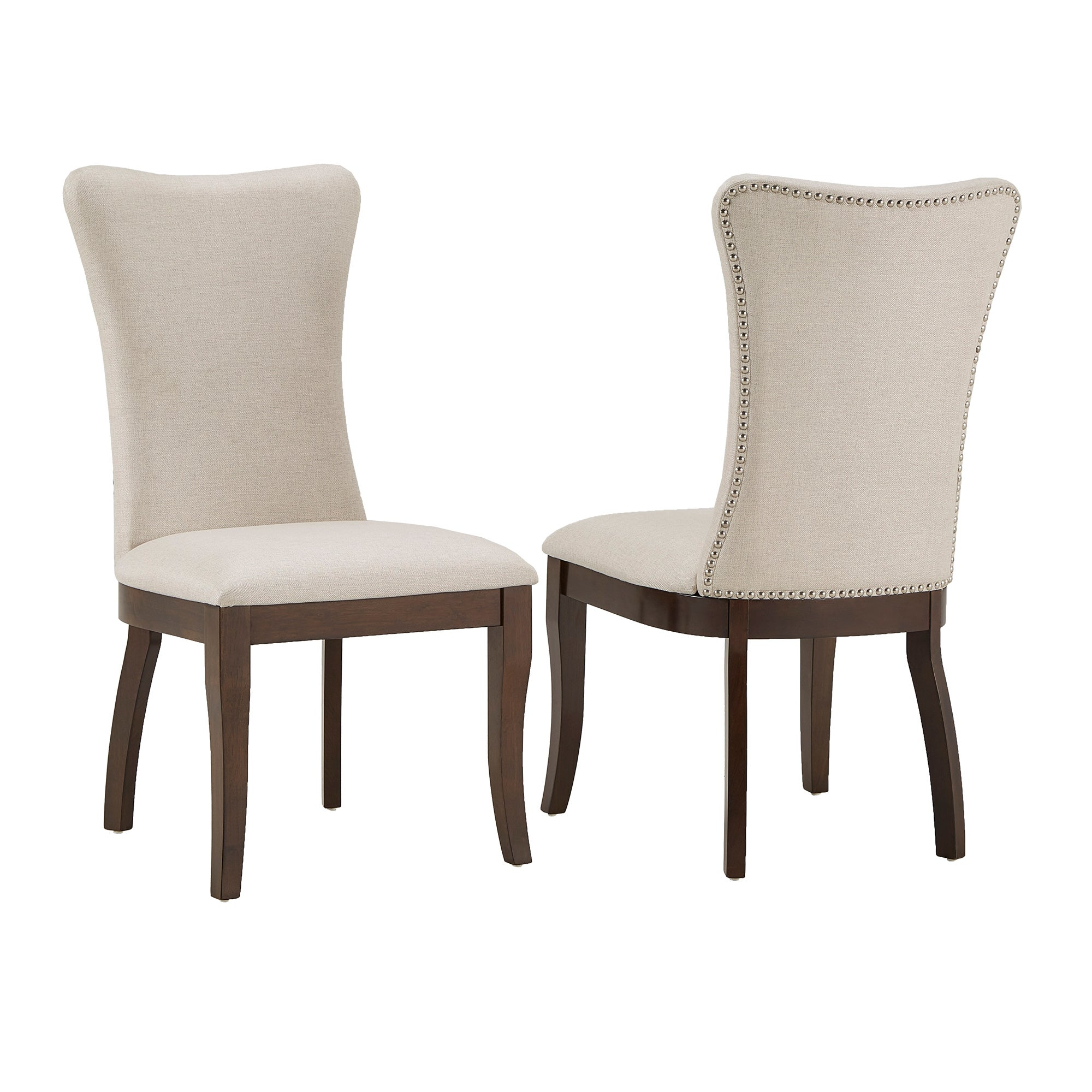 Willa Fabric Wingback Dining Chairs Set Of 2 By Inspire Q Classic Overstock 22160924