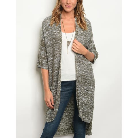 JED Women's Marled Cotton & Acrylic Sweater Cardigan