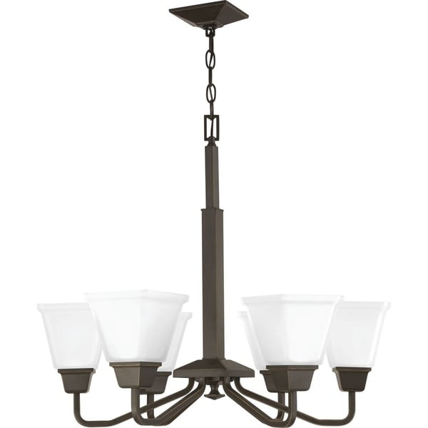 Progress Lighting Clifton Heights Antique Bronze Steel Gl 6 Light Chandelier
