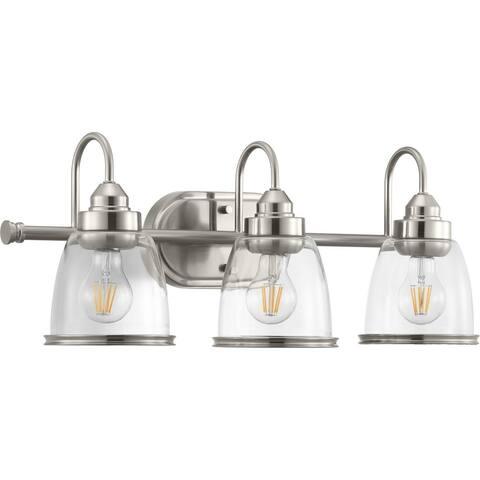 Saluda Collection 3-Light Brushed Nickel Clear Glass Coastal Bath Vanity Light