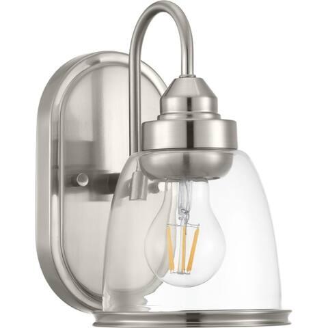 Saluda Collection 1-Light Brushed Nickel Clear Glass Coastal Bath Vanity Light