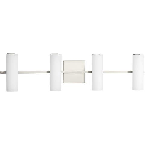 Colonnade LED Collection 4-Light Brushed Nickel Etched White Glass Luxe Bath Vanity Light