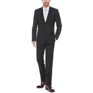 Verno Mestre Men's Black Windowpane Slim Fit Italian Styled Suit